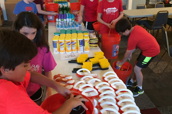 Mission & A Movie: A day of service putting together flood buckets, lunch at the Capitol and a movie.
